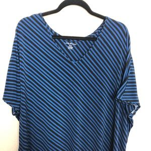 Lane Bryant black and blue striped top